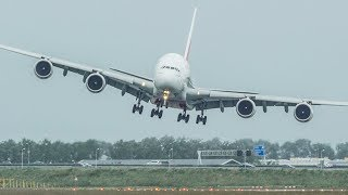 Download Unbelievable AIRBUS A380 CROSSWIND LANDING, GO AROUND + SHARP RIGHT TURN during a STORM (4K) Video