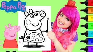 Download Coloring Peppa Pig Painting Coloring Book Page Prismacolor Paint Markers | KiMMi THE CLOWN Video