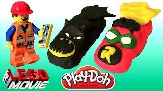 Download DK The Lego Movie Playdoh Superheroes Cars Batman Robin Batmobile Emmet of Bricksburg Toy Surprise Video