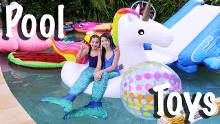 Download The little mermaid POOL TOY HAUL Unicorn Flamingo Popsicle Giant Ball Swim rings Waterslide Mermaid Video