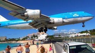 Download NEW! ✈ Boeing 747 LOW Landing & Jet Blast at SXM Sint Maarten Video