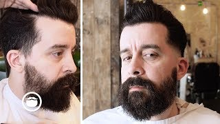 Download Pompadour with Skin Fade Into Patchy Beard Video