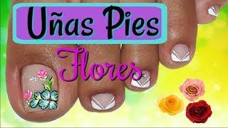 Decoracion De Unas Para Pies Flores Y Frances Flowers Nail Art