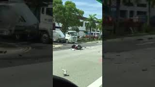 Download Accident involving trailer, lorry and motorcycle at Tuas West Road Video