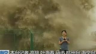 Download Look behind you! Huge wave lands on TV reporter Video