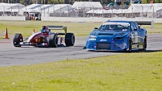 Download THE SHOWDOWN! 1000hp R34 GTR vs F1 car - ROLL RACE! At the Adelaide Motorsport Festival Video