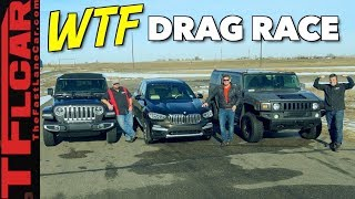 Download Not Even Close! 2018 Jeep Wrangler vs Hummer H2 vs BMW X3 Drag Race Video
