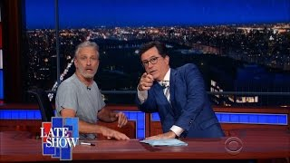 Download Jon Stewart Takes Over Colbert's Late Show Desk Video