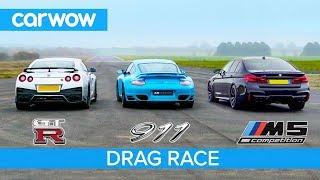 Download Nissan GT-R vs Porsche 911 Turbo vs BMW M5 Comp - £100K DRAG RACE, ROLLING RACE & BRAKE TEST Video