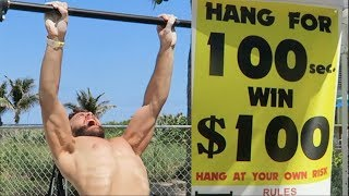 Download HANG CHALLENGE! 100 SECONDS, 100 DOLLARS! (NINJA WARRIOR ATTEMPT) Video