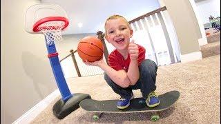 Download FATHER SON BASKETBALL SKATEBOARD TRICK SHOTS! Video