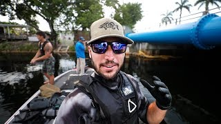 Download Running into Giant PYTHON Underwater In Miami Canals!! (treasure hunting) Video