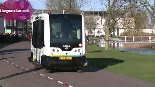 Download Driverless electric shuttle bus tested for use on roads in Netherlands Video
