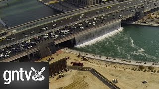 Download Aerial footage of Dubai Canal waterfall testing Video
