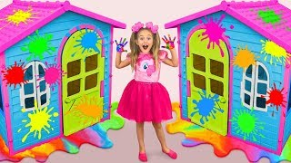 Download Sasha Paints and Decorates Playhouses & play in coloring Challenge with toys Video