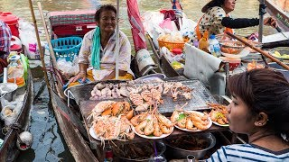 Download Thai Food at Amphawa Floating Market - Thailand SEAFOOD FEAST Cooked on a Boat! Video