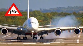 "Download ""Storm Xavier"" Dangerous A380 slinging and bumpy crosswind landing at Düsseldorf airport Video"