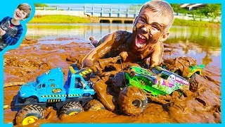 Download MONSTER Truck TOW Truck for Kids - Towing GRAVE DIGGER! Video