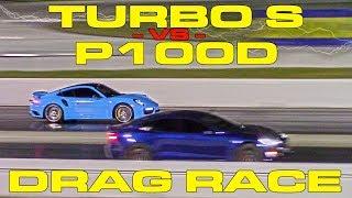 Download 675HP Porsche Turbo S vs Tesla Model S P100D Ludicrous 1/4 Mile Drag Racing Video