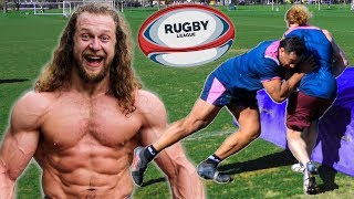 Download Bodybuilder Tries Rugby, Gets SMASHED Video
