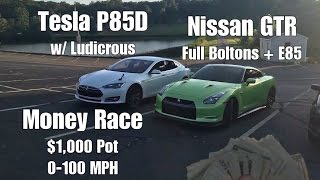 Download $1,000 Race Ludicrous Tesla vs Modified Nissan GTR Drag Racing! Video