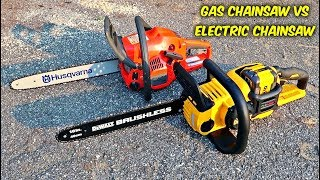 Download Gas Chainsaw vs Electric Chainsaw Video