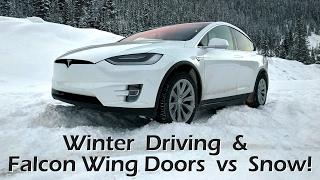 Download Tesla Model X - Winter Driving & Falcon Wing Doors vs Snow Video