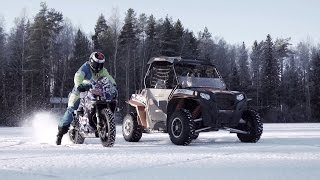 Download UTV vs Motorbike ON ICE Video