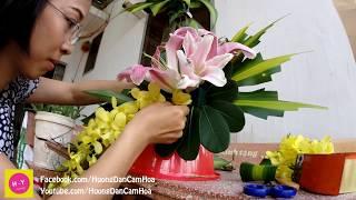 Download Cắm hoa bàn thờ tập 55| Lẳng Lily và Lan Vàng 2 tầng | HOA TẾT Video