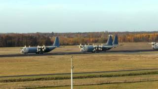 Download Nice Startup celebrationflight of RNLAF; 4x C130 Hercules at Eindhoven. Video
