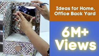Download How to Make Dressing Table, Vanity Table, DIY Desk Organizer from Cardboard & Newspaper Video