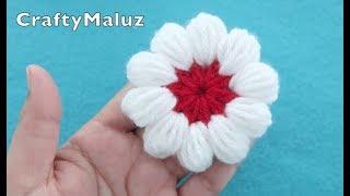 Download (CROCHET TUTORIAL) FLOR TEJIDA EN PUNTO PUFF | flor a crochet en punto puff Video