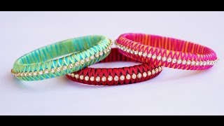 Download silk thread criss cross bangle making video Video