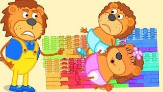 Download Lion Family Super Daddy Build Beds With Lego and Play With Lego Cartoon For Kids Video