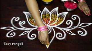 Download creative lotus rangoli designs with out dots & with colors - simple kolam designs - muggulu designs Video