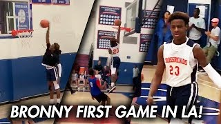 Download BRONNY JAMES DUNKS IN FIRST GAME in LA with LeBron WATCHING! 27 Pts CROSSROADS DEBUT! Video