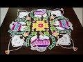 Download Sankranthi Rangoli|Sankranthi Muggulu|Pongal Rangoli|Pongal Kolam|Pot Rangoli|Pot Kolam|17-5-5 dots Video