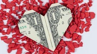 Download Money origami HEART ❤️ Dollar bill origami heart folding tutorial Video