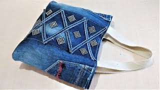 Download How To Make Hand Bag / Tote Bag From Old Jeans | DIY Easy Jeans Bag | Old Cloth Reuse Ideas Video
