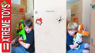 Download Ethan Vs. Cole Nerf Battle Royale in a Cardboard Box Maze Fort! Video
