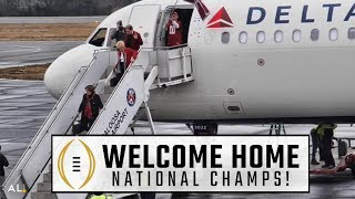 Download Alabama returns to Tuscaloosa airport after national championship win Video