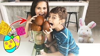 Download MILK SHAKE DE CHOCOLATE - MISTUREI TODOS OS OVOS DE PÁSCOA com Bela Bagunça, Magu e Mamãe Video