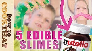 Download 5 DIY Edible Candy Slimes *SLIME YOU CAN EAT* Gummy slime, nutella slime, musk stick, psyllium Video