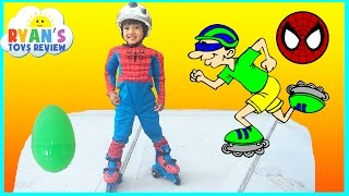 Download Ultimate Spiderman Roller Skates for Kids with Eggs Surprise Toys Video