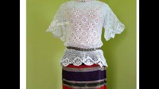 Download เสื้อถัก Crochet ต่อดอกลายดอกไม้สีขาว Video