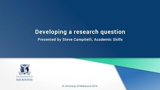 Download Developing a research question Video