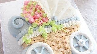 Download Russian Flower Piping Tips on a Buttercream Cake - How to decorate a stroller cake Video