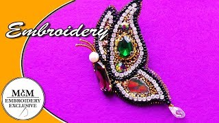Download Hand Embroidery Brooch Butterfly || Вышивка Брошь Бабочка Video