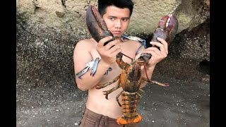 Download Primitive Technology with Survival Skills looking for food Lobster and Crab giant Video