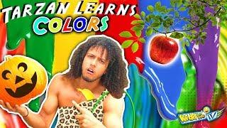 Download TARZAN LEARN COLORS! Monkey Man loose in WALMART! Make New Friends + Messy Painting   KIDD in Me TV Video